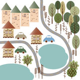 Dorf mit Seen und Wald Stockfotografie