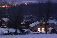 Dorf nachts Stockfotos