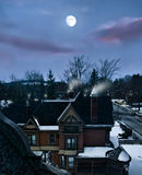 Dorf nachts Stockfotografie