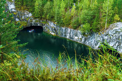 Dorf Ruskeala, Sortavala, Republik von Karelien, Russland, am 14. August 2016: Gebirgspark Stockfotografie