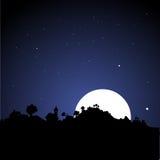 Dorf-Skyline nachts Lizenzfreies Stockbild