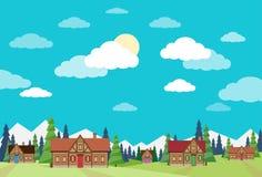Dorf-Sommer-Landschaft bringt grünes Gras-Blau unter lizenzfreie abbildung