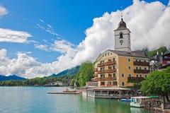 Dorf-Str. Wolfgang auf dem See, Österreich Stockfoto