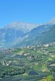 Dorf Tirol,Schenna,Merano,South Tyrol,Italy. View to Dorf Tirol from Village of Schenna near Merano,South Tyrol,Trentino,Alto Adige,Dolomites,Italy royalty free stock photos
