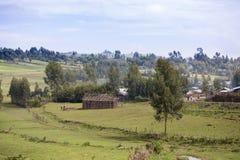 Dorf und Leute, die ein Haus in ländlichem Äthiopien bauen Stockbild