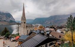 Dorf und See Hallstatt Stockfotografie