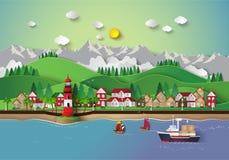 Dorf- und Seebucht lizenzfreie abbildung