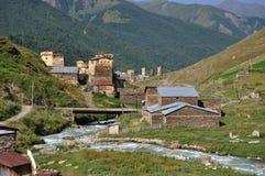 Dorf Usghuli in Svaneti, Georgia Stockbilder