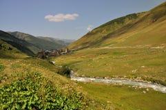 Dorf Usghuli in Svaneti, Georgia Stockfotografie
