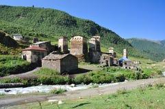 Dorf Usghuli in Svaneti, Georgia Lizenzfreie Stockfotografie