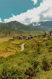 Dorf von Bhutan und terassenförmig angelegtes Feld bei Punakha, Bhutan Stockbild
