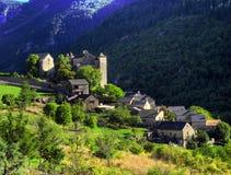 Dorf von Blajoux in den Tarn-Schluchten stockfotografie