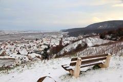 Dorf von Elsass im Weinberg im Winter Lizenzfreie Stockbilder
