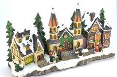 Dorf von Weihnachten im Gips Stockbild