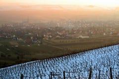 Dorf von Westhoffen im Winter Stockbild