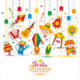 Dorffestival Festa Junina in Latein-Amerika Ikonen eingestellt in bri Lizenzfreies Stockfoto