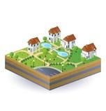 Dorfhäuser Stockfoto