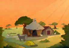 Dorfhäuser bei Sonnenuntergang lizenzfreie abbildung