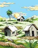 Dorfhütten und -sonnenuntergang lizenzfreies stockfoto