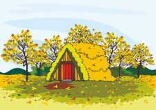 Dorfhaus und -bäume im Herbst Lizenzfreie Stockfotografie