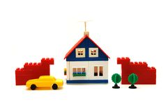Dorfminiatur mit Haus Stockfotos