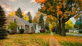 Dorfstraße im Herbst Stockfotografie