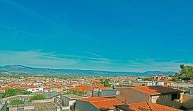 Dorgali under a blue sky. Dorgali panorama on a clear day Royalty Free Stock Photo