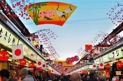 Dori de Nakamise, Sensoji, Asakusa, Tokyo, Japão imagem de stock royalty free
