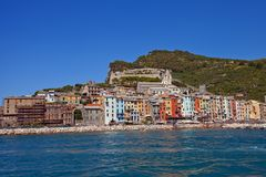 Doria castle and Portovenere town, Italy. View of the Doria Castle (circa 1161) and Portovenere town (UNESCO world heritage site) from the Gulf of Poets. Liguria Stock Images