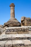 Dorian columnin Valley of the Temples in Agrigento Stock Photos