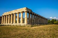 Doric świątynia Hera w Paestum Włochy Fotografia Royalty Free