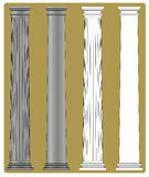 Doric Column. Four variants of a illustration of a column with a Doric capital and an attic style base: with and without flutes; with and without shading royalty free illustration