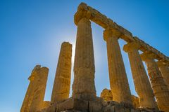 Doric columns of Colonnade, ruins Ancient greek Temple of Juno, ancient architecture Agrigento, Sicily. Italy royalty free stock photography