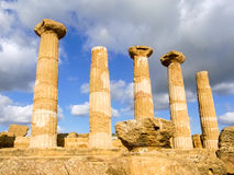 Doric columns of a greek temple. The columns of the Heracles temple, a greek temple in Agrigento Stock Image