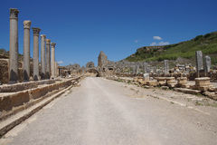 Doric  columns and street Stock Photo