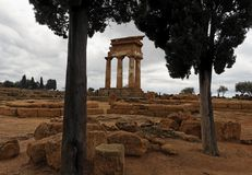 Doric Columns Temple of Castor and Polux Royalty Free Stock Photo