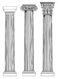Doric, Ionian and Corinthian. Diagram of three ancient roman architectural columns - doric, ionian and corinthian Royalty Free Stock Image