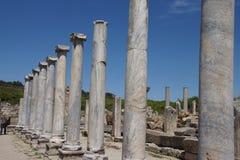 Doric marble columns of the agora Stock Photos