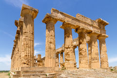 Doric Ruin. Ruin of Temple E (Temple of Castor and Pollux) in the archeological park of Selinunte in southern Sicily royalty free stock photos