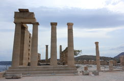 Doric temple of Athena Lindia. Acropolis of Lindos. Rhodes, Greece. Royalty Free Stock Photography