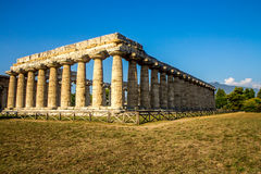 Doric temple of Hera in Paestum Italy. Paestum (Poseidonia) is a major Graeco-Roman city in the Campania region of Italy. The Temple of Hera, built around 550 BC Royalty Free Stock Photography
