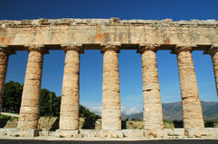 The Doric temple of Segesta. Segesta (Sicilian: Seggesta) was the political center of the Elymian people, located in the northwestern part of Sicily, in what are royalty free stock photography