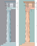 Doricprop. Vector illustration of the doric column with numeric proportions in two colors Stock Photo
