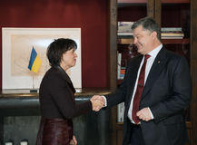 Doris Leuthard et Petro Poroshenko Photo stock