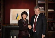 Doris Leuthard und Petro Poroshenko Stockbilder