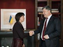Doris Leuthard und Petro Poroshenko Stockfoto