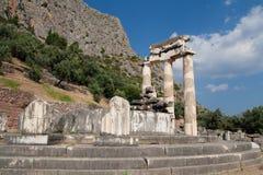 Dorische kolommen in Delphi stock foto's