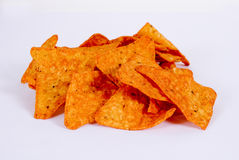 Doritos. A mountain of corn chips doritos spiced on a white background Stock Photo