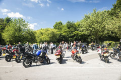 Dorking, UK-July 02, 2017:Motorcycle Enthusiasts meeting at Cafe Stock Photography
