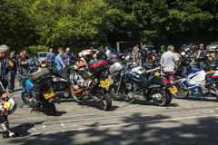 Dorking, UK-July 02, 2017:Motorcycle Enthusiasts meeting at Cafe Royalty Free Stock Photos
